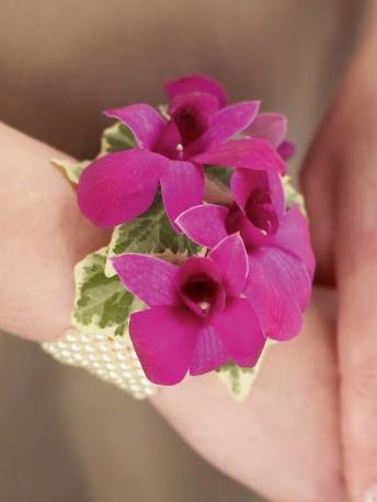 Rich Purple Dendrobium Orchid Wrist Corsage