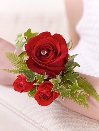 Red Rose & Fern Wrist Corsage