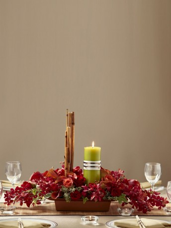 Rich Red Candle Arrangement
