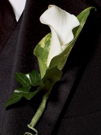 Chic White Calla Lily Buttonhole