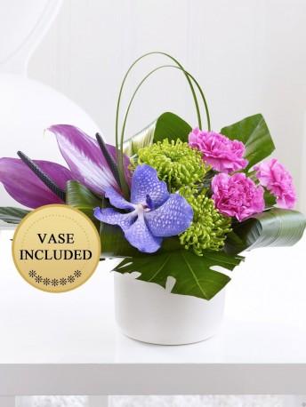 Carnation, Vanda Orchid and Anthurium Arrangement