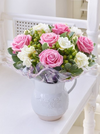 Fragrant Pink Rose & Freesia Jug
