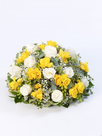 Rose and Freesia Posy Yellow & White