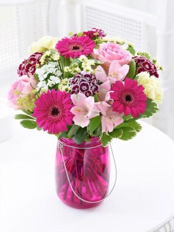 Happy Birthday Summer Pink Floral Lantern
