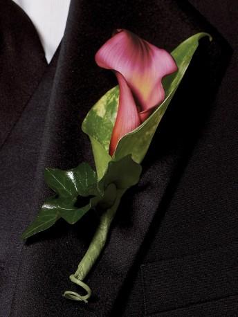 Deep Pink Calla Lily Buttonhole