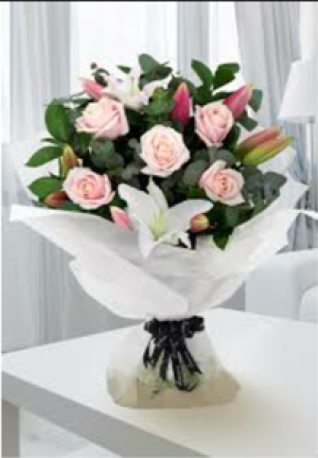 Pink Rose & Pink Lily Hand-tied
