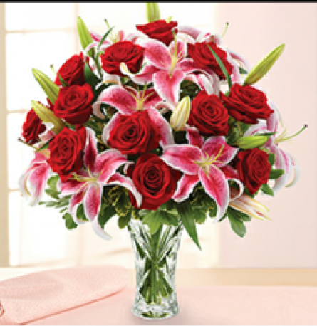 Red Rose & Pink Lily Hand-tied