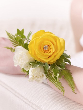 Yellow Rose & Fern Wrist Corsage