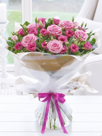 Happy Birthday Pink Lisianthus & Rose Hand-tied