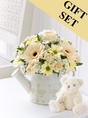 Little Duckling Watering Can - Cream with Bailey Bear