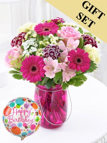 Happy Birthday Summer Pink Floral Lantern with Happy Birthday Balloon