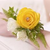 Yellow Rose & Fern Wrist Corsage