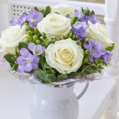 Fragrant White Rose & Freesia Jug