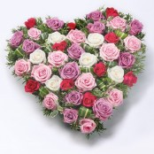 Mixed Rose Heart Red & Pink