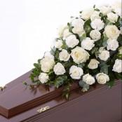 Rose and Carnation Casket Spray White