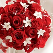 Dazzling Red Rose & Stephanotis Scented Bridal Bouquet