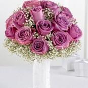 Lavender Rose & Gypsophila Bridal Bouquet