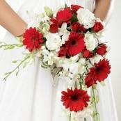 Crimson Gerbera & Orchid Shower Bridal Bouquet