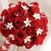 Dazzling Red Rose & Stephanotis Scented Bridal Bouquet