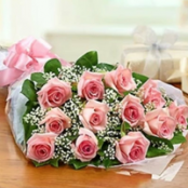 Pink Rose and Gyp Presentation Bouquet