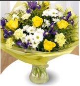 Lemon,White and Purple Sympathy Hand-tied